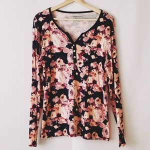 Croft& Barrow long sleeve floral top size XL